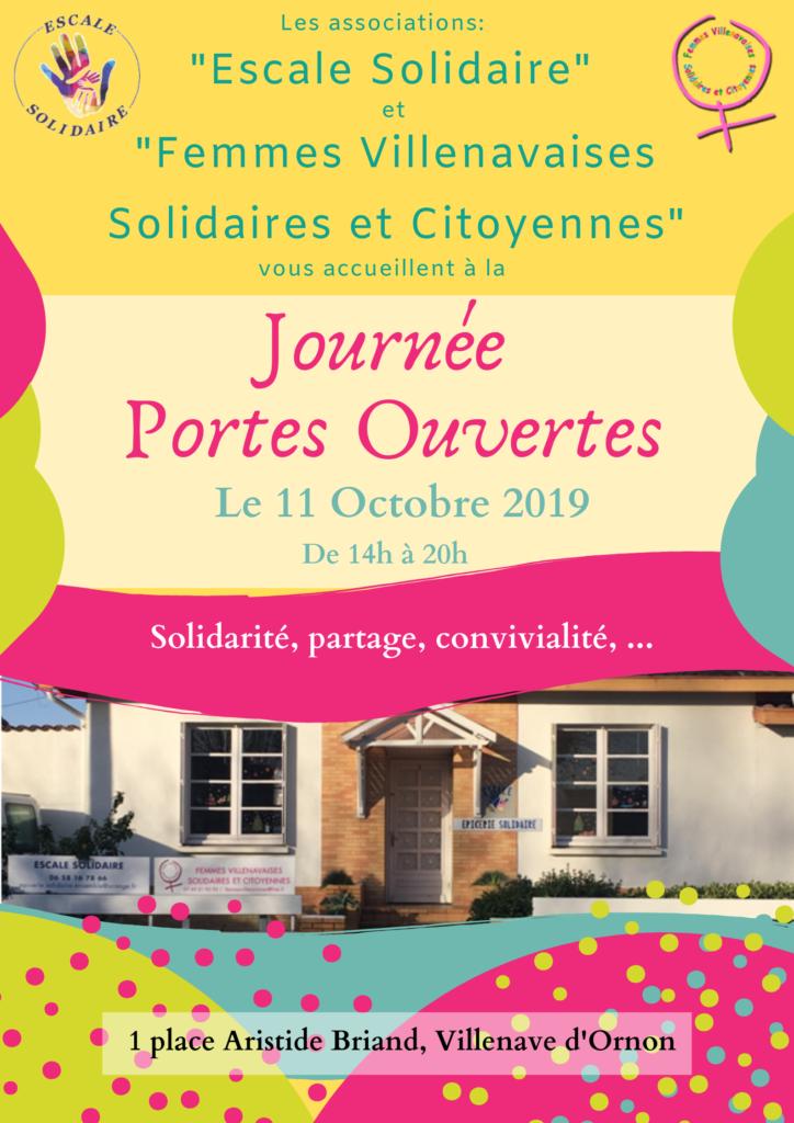 Le 11/10/2019, les associations Escale Solidaire et Femmes VIllenavaises Solidaires et Citoyennes vous convient à la journée Portes Ouvertes.